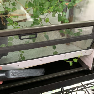 Emptying chameleon cage drainage tray