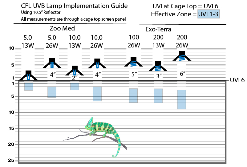 CFL UVB map for Chameleon cage