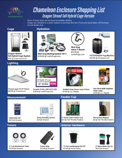Hybrid chameleon cage shopping list