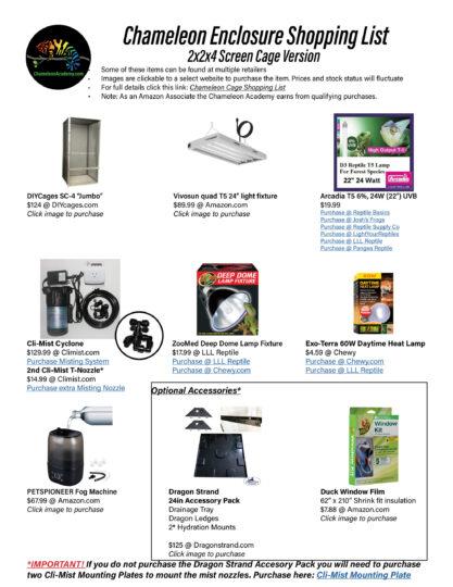 Basic Chameleon Cage Build Shopping list